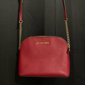 Michael Kors Red Cindy Large Dome Crossbody bag